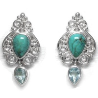 Turquoise and Sky Blue Topaz Post Earrings
