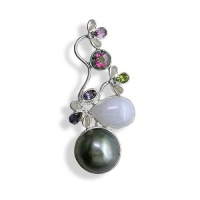 Mabe Pin-Pendant with Blue Chalcedony, Mystic Topaz, Amethyst, Peridot, Moonstone and Iolite