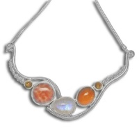 Fire Agate, Rainbow Moonstone & Amber Necklace with Citrine