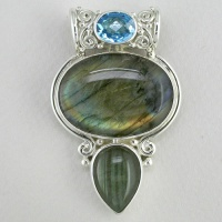 Labradorite and Swiss Blue Topaz Pendant