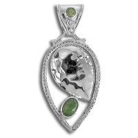 Jade and Peridot Pendant with Hammered Sterling Silver
