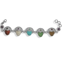 Multi-Gemstone Goddess Link Bracelet
