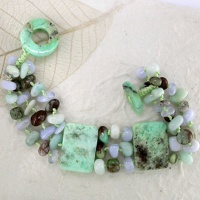 Chrysoprase, Blue Chalcedony and Amazonite Beaded Bracelet