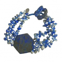 Lapis Chip Beaded Bracelet with Hexagon