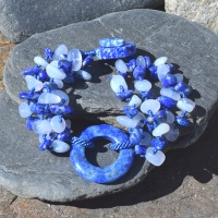 Lapis and Blue Chalcedony Beaded Bracelet with 30mm Lapis Circle Center