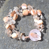 Pink Shell and Rutilated Quartz Beaded Bracelet