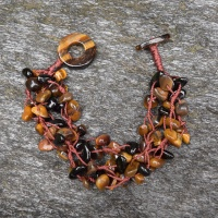 Onyx adn Tiger Eye Beaded Bracelet