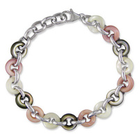 Sterling Silver Pink, White, and Black Mother of Pearl Donut Bracelet