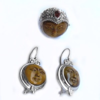 Tiger Eye Goddess Ring and Earring Set