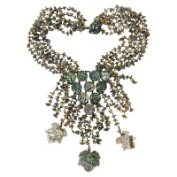 Abalone Shell Chips, Disks and Leaves Beaded Necklace