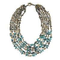 Abalone Shell and Turquoise Beaded Necklace