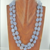 "20"" Two Strand Blue Chalcedony Beaded Necklace"
