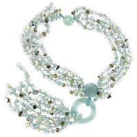 Blue Chalcedony, Amazonite and Chrysoprase Beaded Necklace