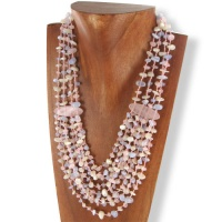 Rose Quartz, Blue Chalceondy and Mother of Pearl Beaded Necklace
