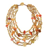 Carnelian Chips and Coins Beaded Necklace