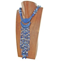 Lapis, Blue Chalcedony, and Blue Pearl Beaded Necklace with Hand Carved Lapis