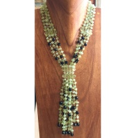 Prehnite, Green Aventurine, and Black Onyx Beaded Necklace