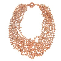 Eight Strand Peach Stone Beaded Necklace