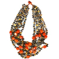 Onyx and Tiger Eye Beaded Necklace with Red Jasper