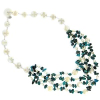 Turquoise Chip Bead and Freshwater Pearl Bead and Coin Necklace