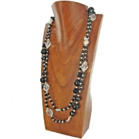 Onyx, Crystal and White Pearl Beaded Wrap Around Necklace