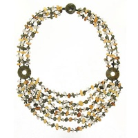Labradorite, Rutilated Quartz and Yellow Jasper Beaded Necklace