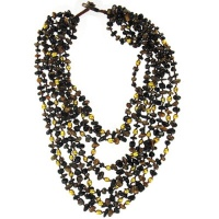 Onyx Beaded Necklace with Golden Pearl and Tiger Eye