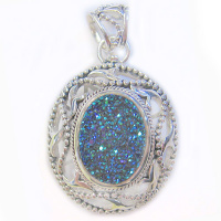 Caribbean Druzy Pendant with Ornate Open Silver Bezel