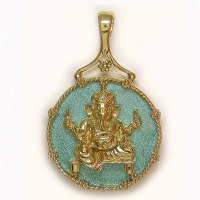 Bronze Ganesh Pendant with Enamel Coated Agate