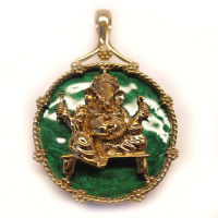 Bronze Ganesh Pendant with Enamel Coated Agate Dark Green