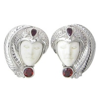 Goddess Clip-On Earrings with Ruby & Garnet