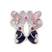 Golden & Black Shell, Mother Of Pearl, Pink Tourmaline & Garnet Butterfly Pin-Pendant
