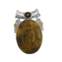 Carved Tiger Eye Pendant with Garnet and Citrine
