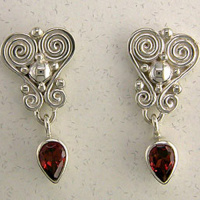 Ornate Garnet Pear Post Earrings