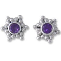 Amethyst Silver Post Earrings