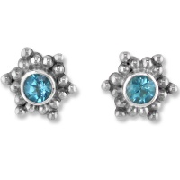 Silver Post  Earrings with Blue Topaz