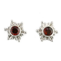 Garnet Silver Post Earrings with Silver Beads