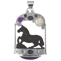 Rainbow Obsidian Horse Pendant with Mother of Pearl Goddess
