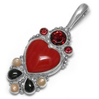 Red Jasper Heart Pendant wtih Garnet, Pink Moonstone and Black Star Diopside