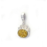 Gold Druzy Oval Pendant