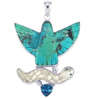 Turquoise Eagle Fetsih Pendant with Mother of Pearl Serpant and Blue Topaz