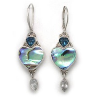 Paua Shell & London Blue Topaz Heart Earrings with Aquamarine