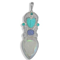 Turquoise Goddess Pendant with Opalized Window Druzy, Caribbean  and Raibnow Teal Quartz and Caribbean Druzy