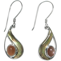 Golden Rainbow Shell Dangle Earrings with Peach Moonstone