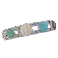 Sterling Silver Multi-Goddess and Gemstone Cuff Bracelet