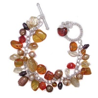 Amber, Garnet, Citrine, Pearl & Mexican Fire Opal Charm Bracelet with Amber Goddess