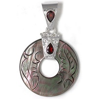Carved Black Mother of Pearl Silver Pendant with Garnet