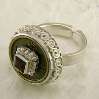 """Good Luck"" Chinese Coin and Garnet Silver Ring"