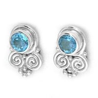 Swiss Blue Topaz and Swirl Post Earrings