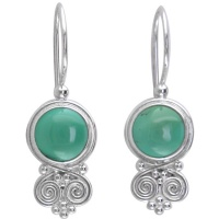 Turquoise and Silver Swirl Latch-Back Earrings